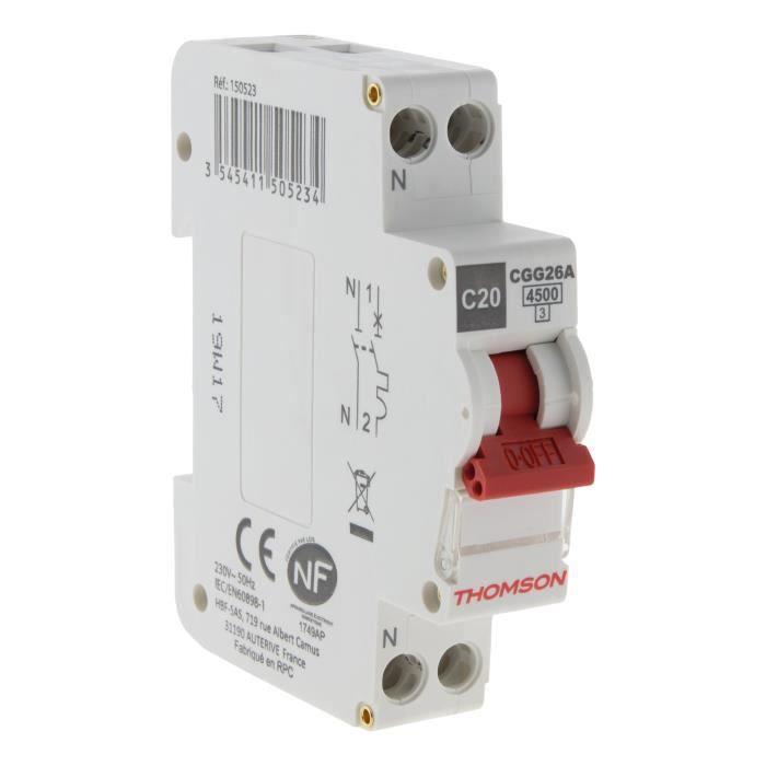 THOMSON Disjoncteur à vis PH+N - 20A NF - Pouvoir de coupure 4.5KA