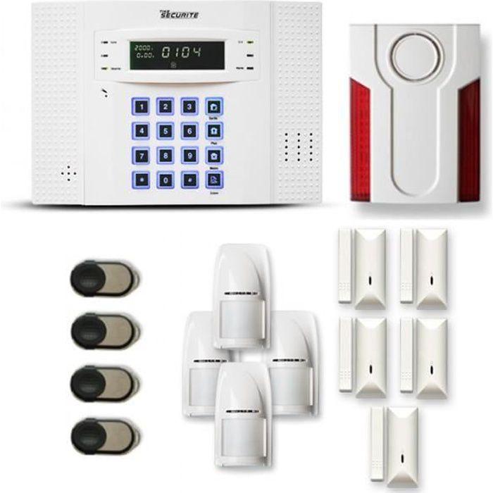 Alarme maison sans fil DNB 4 à 5 pièces mouvement + intrusion + sirène extérieure - Compatible Box internet