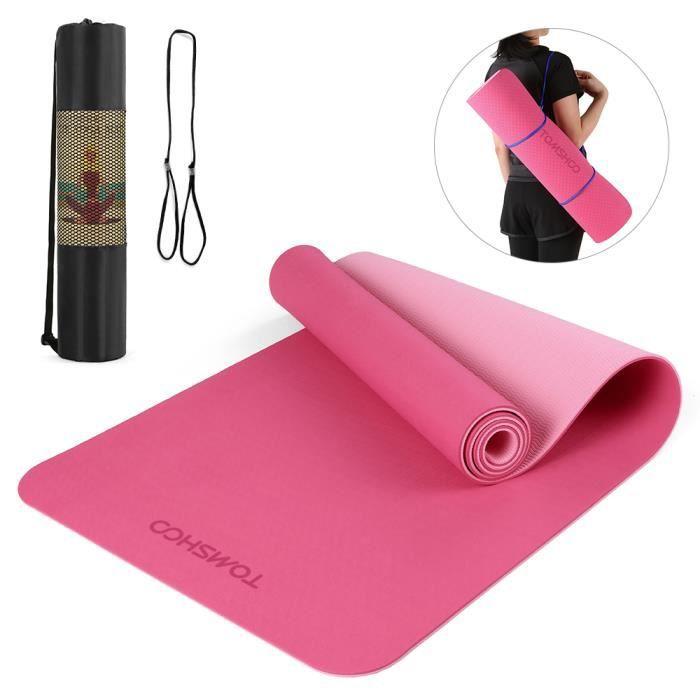 TOMSHOO 72.05 × 24.01in Portable Double Dual-colour Yoga Mat Thicken Sports Mat Tapis d'exercice antidérapant pour les entraîne-724