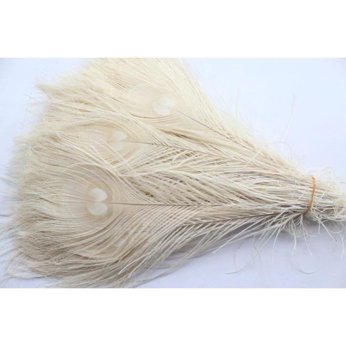 50 pièces plumes de paon blanches naturelles dans les yeux, 10 à 12 pouces de la plume de paon livraison gratuite décoration de