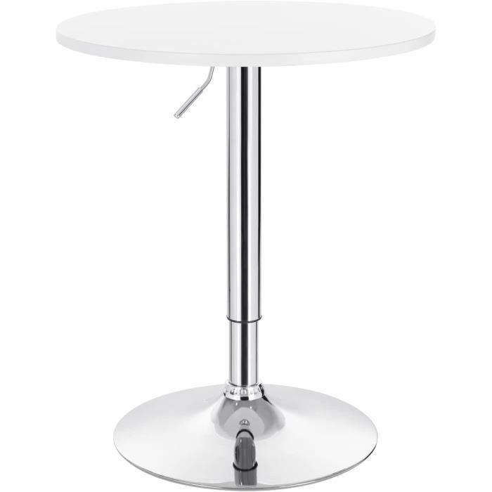 WOLTU 1 X Table de bar en MDF avec pied, Table ronde, Hauteur réglable, Blanc