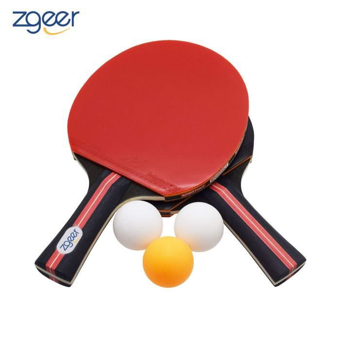 Raquette Tennis de Table, Set De Tennis De Table, 2 Raquette Ping Pong De Peuplier+3 Balle+1 Sac
