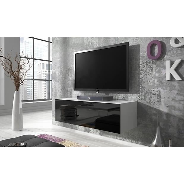 meuble tv point 100 cm matte blanc noir brillant