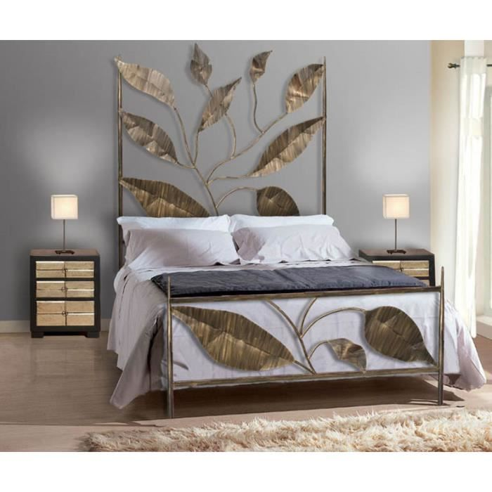 lit en fer forg mod le hojas achat vente structure de lit cdiscount. Black Bedroom Furniture Sets. Home Design Ideas