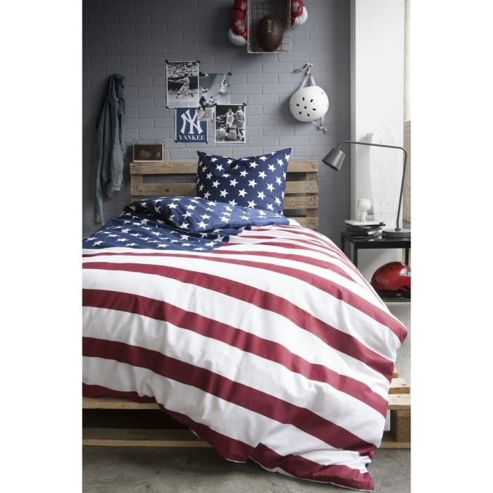 today best flag parure de couette enfant us dream 1 housse de couette 140x200cm 1 taie. Black Bedroom Furniture Sets. Home Design Ideas