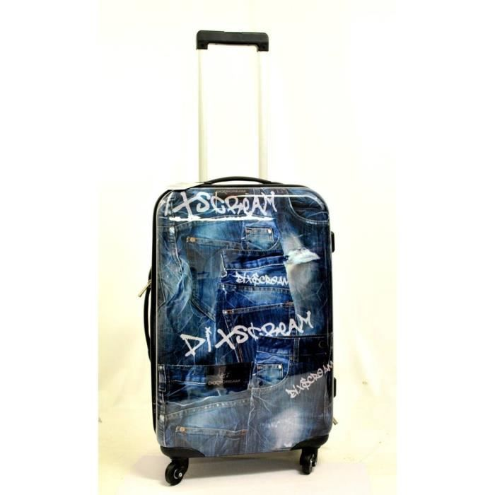 valise cabine 60 cm avec roulettes impression jeans bleu bleu achat vente valise bagage. Black Bedroom Furniture Sets. Home Design Ideas