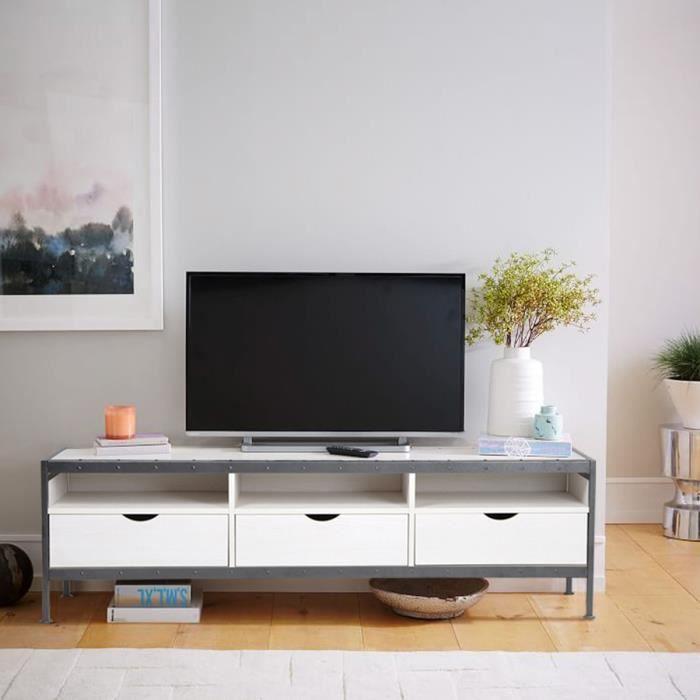 Meuble TV / Meuble Salon Panneau Bois Blanc + Métal Gris - 3 Tiroirs  Compartiments de Rangement - L 140 cm - Style Moderne