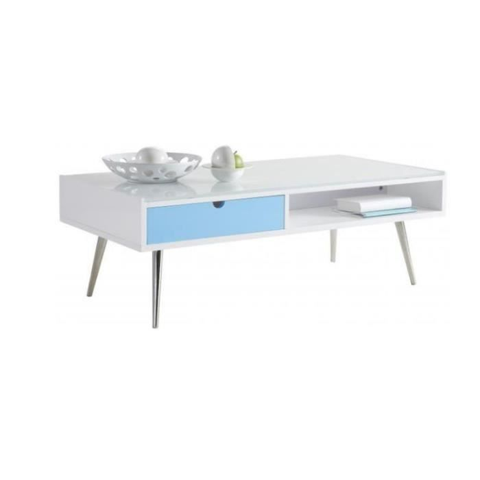 table basse rectangulaire blanche domino tv achat vente table basse table basse. Black Bedroom Furniture Sets. Home Design Ideas