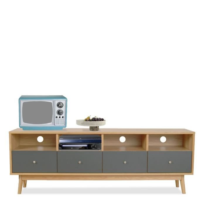 meuble tv design scandinave 4 tiroirs skoll couleur gris souris achat vente meuble tv meuble. Black Bedroom Furniture Sets. Home Design Ideas