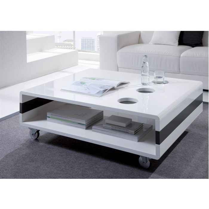 Oscar table basse laqu e blanc anthracite achat vente for Table basse blanche pas cher