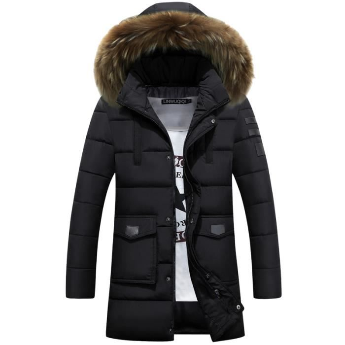 parka homme fourrure capuche manteau homme hive noir. Black Bedroom Furniture Sets. Home Design Ideas