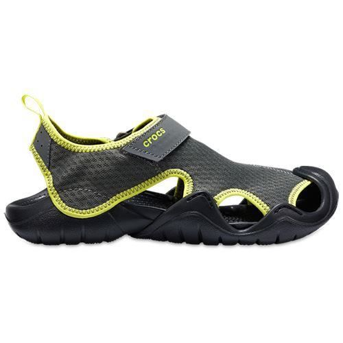 8fe330f9bd26 Crocs Swiftwater Relaxed Fit Sandales en Slate Gris   Tennis Ball Vert  15041 08I  UK M10 US M11