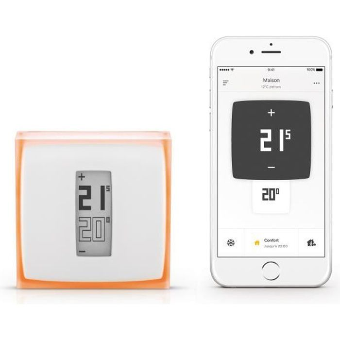 netatmo thermostat connect netatmo by starck achat vente thermostat d 39 ambiance plexiglas. Black Bedroom Furniture Sets. Home Design Ideas