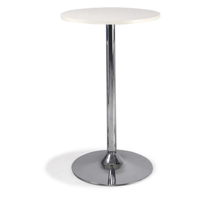 Table haute de bar blanc plateau en bois pied achat for Table de bar haute but