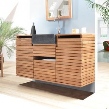 meuble sous vasque teak petite salle de bain te achat. Black Bedroom Furniture Sets. Home Design Ideas