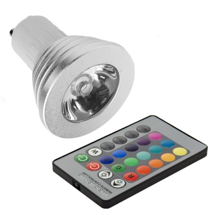 ampoule rgb led changeable 16 couleurs 5w gu10 t achat vente ampoule led ampoule rgb led. Black Bedroom Furniture Sets. Home Design Ideas