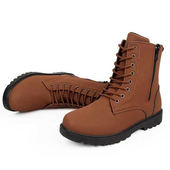 Mode Botte Homme Lacet Boots Velours Bottine PU...