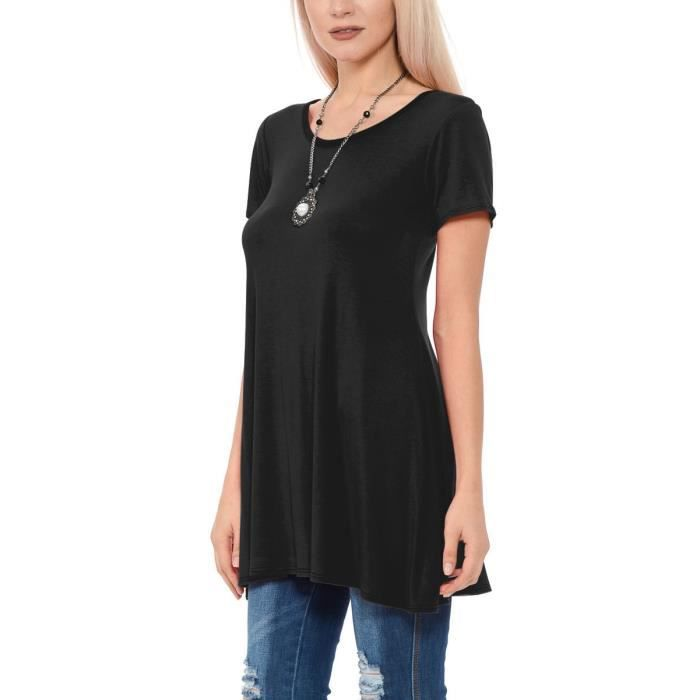 Mo2nb Short Top Neck 34 Casual Taille Fit Tunic Scoop Shirts Sleeve Women's Flow Loose qwZgtx6xPB