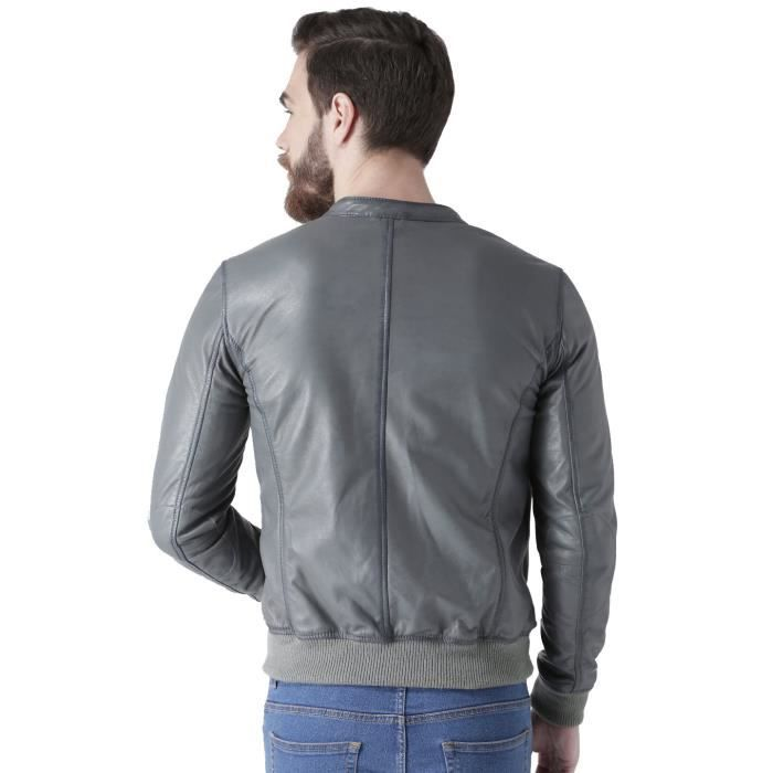 Quality Men's Grey Banned Color Jacket Collar L OUAEV Leather Taille premium 70p7F1