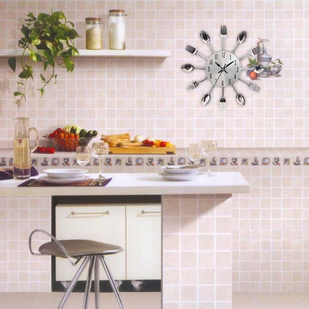 Horloge de cuisine effet miroir en forme de cuillère, fourchette