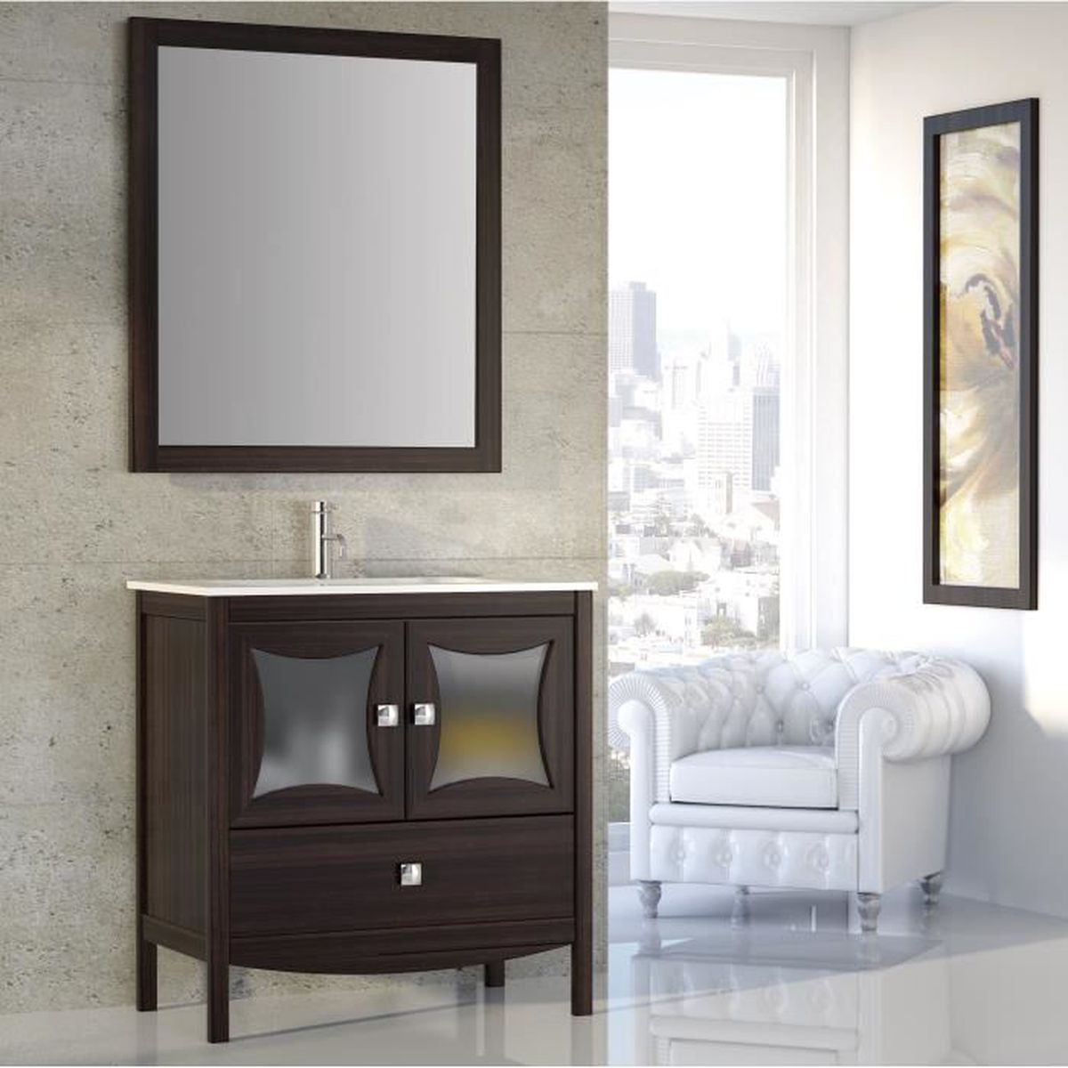 meuble sous vasque complet oferti 100cm achat vente salle de bain complete meuble sous. Black Bedroom Furniture Sets. Home Design Ideas