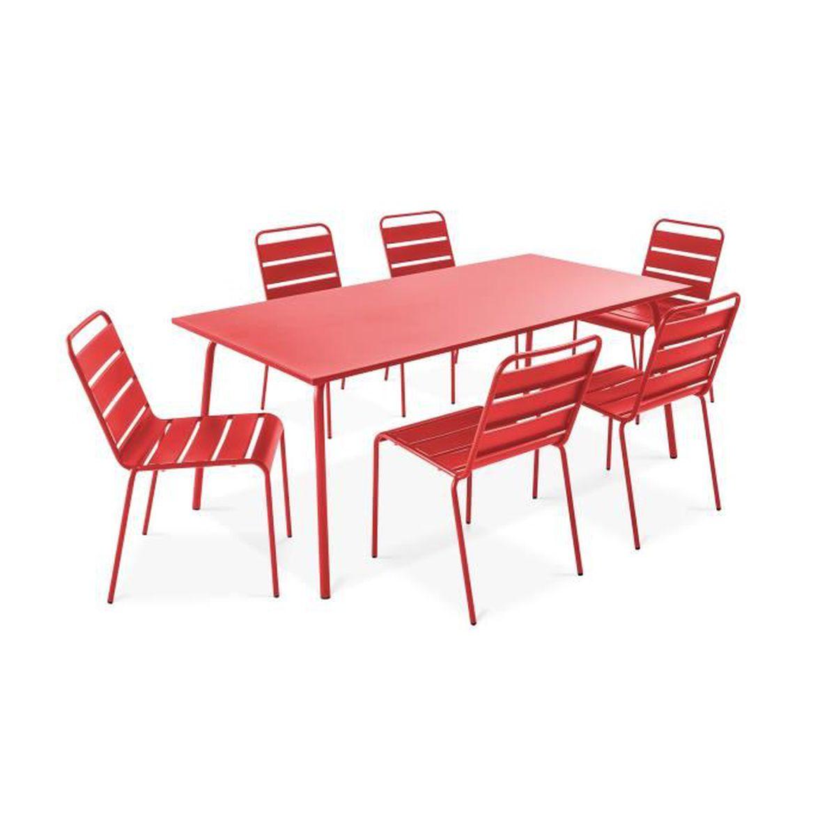 Ensemble table de jardin et 6 chaises en métal - salon de ...