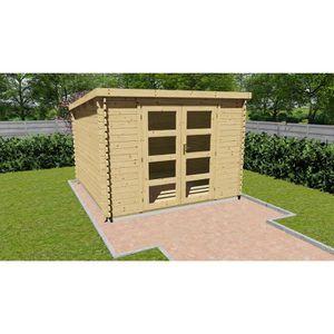 ABRI JARDIN - CHALET Abri de jardin bois brut FSC - toit plat - Surface