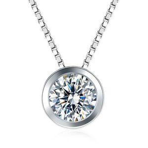 SAUTOIR ET COLLIER 8.0mm 2CT Solitaire Rond Pendentif Diamant NSCD Fe