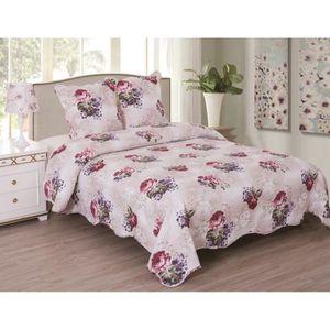 JETÉE DE LIT - BOUTIS Couvre lit boutis Rose et lilas pour lit 2 places