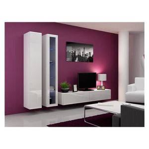 ensemble meuble tv blanc laque achat vente ensemble meuble tv blanc laque pas cher les. Black Bedroom Furniture Sets. Home Design Ideas
