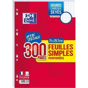 FEUILLET MOBILE OXFORD - Feuilles simples perforées 300 pages seyè