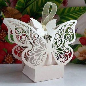 BOÎTE À DRAGÉES 10 Boîtes à dragées papillon blanc - crème
