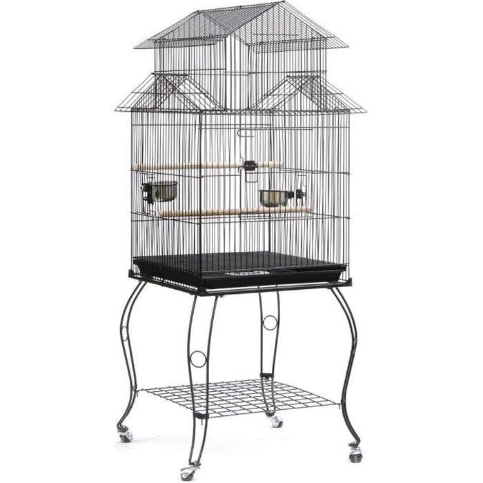 LUXS Cage Oiseaux sur Pied Volière Détachable pour Perruche Perroquet Canari Mandarin Extérieur 59 x 59 x 139,5 cm