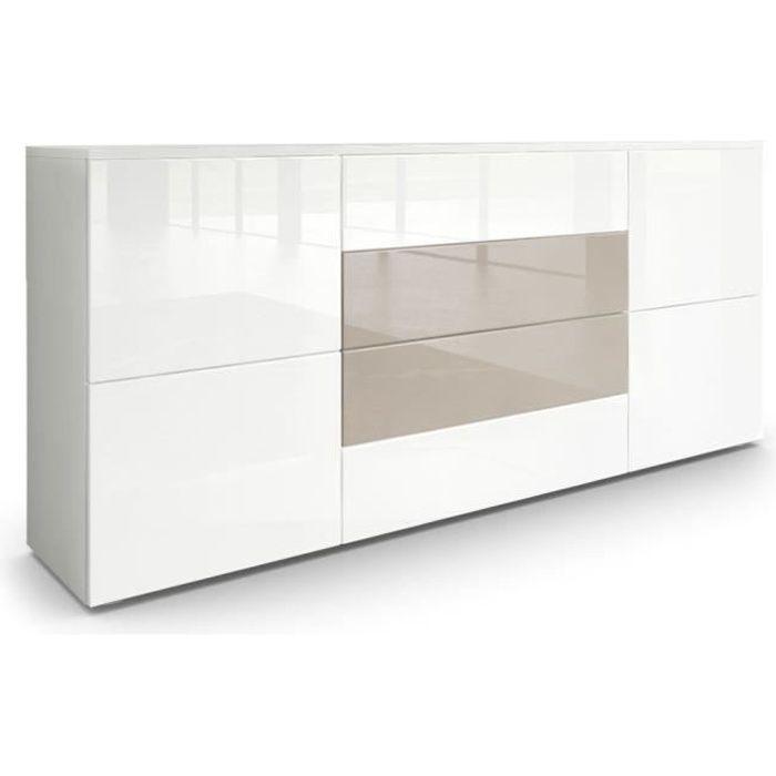 Buffet moderne blanc et gris sable avec façades laquées et corps mat