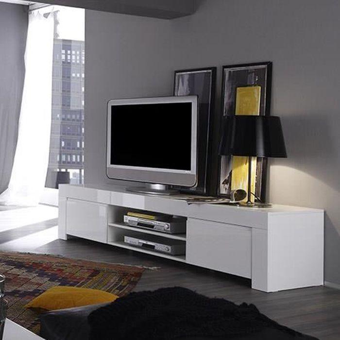 Meuble TV blanc laqué design PAULA L 190 x P 50 x H 45 cm Blanc