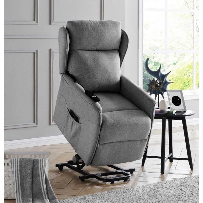 Fauteuil releveur relax en tissu gris à commande électrique DARKO