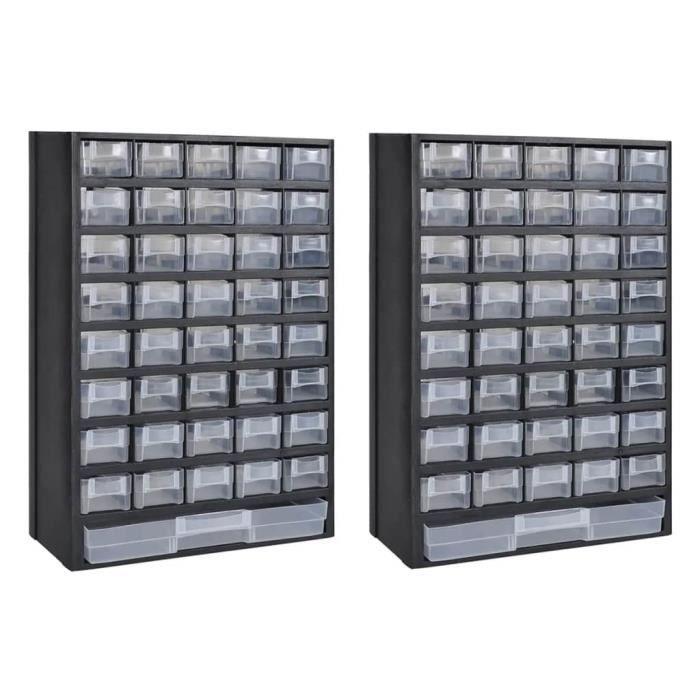 Luxueux Magnifique- Boîte à outils 31 x 13,8 x 49 cm Coffre à outils Mallette à outils de rangement avec 41 tiroirs 2 pcs Plastique