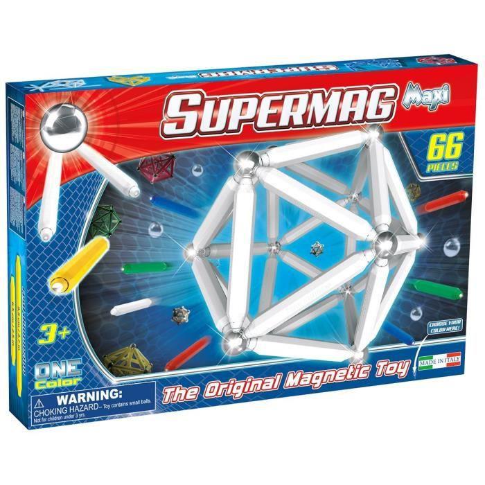 Plastwood 0123 - COMMUTATEUR KVM - Supermag Toys- ? Maxi One Color Jeu de Construction magnétique, 66 pièces, Couleurs Assorties