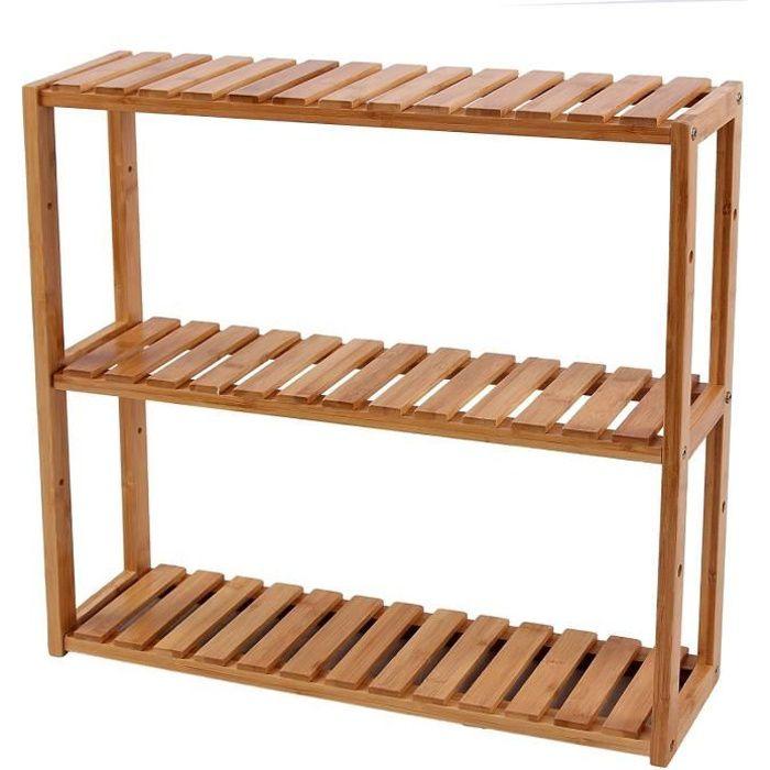 Etagère en bambou rangement salle de bain cuisine 60 x 15 x 54 cm (L x l x h) 330