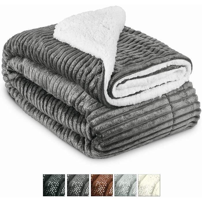 Beautissu Couvre lit Elisa Couverture polaire avec impressions scintillantes 220x240cm – Plaid doux Couverture chaude - Anthracite
