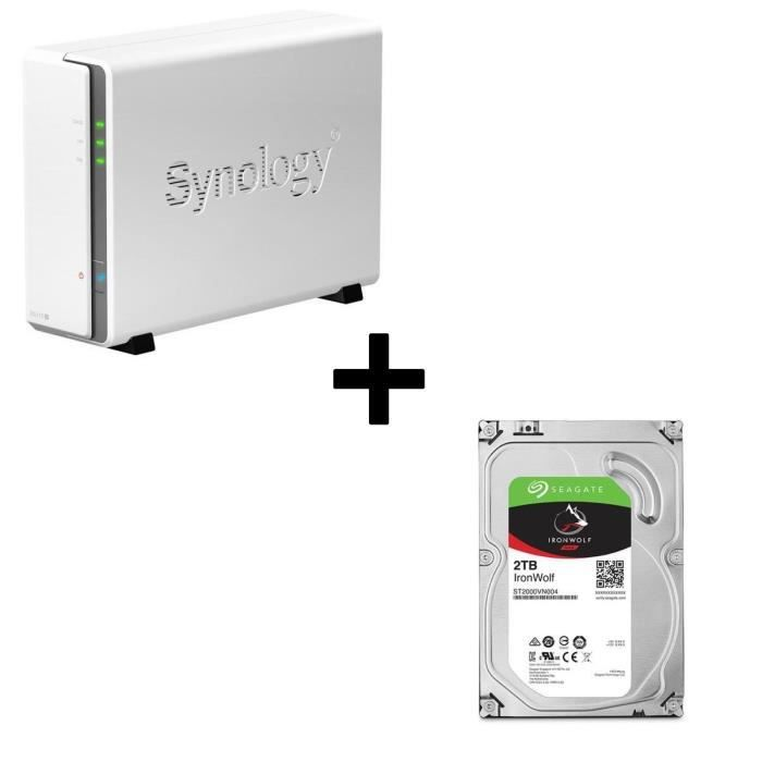 Pack Synology Serveur NAS DiskStation DS115j + 1 Disque Dur Seagate NAS HDD Iron Wolf 2To 3,5\