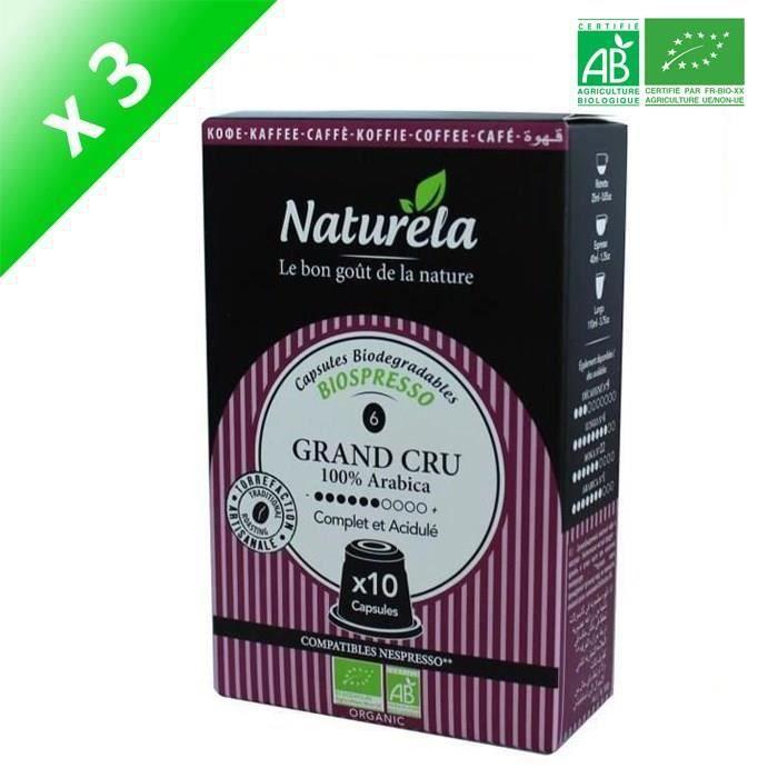 [LOT DE 3] 10 capsules Naturella Biospresso Compatibles Nespresso ® Le Grand Cru n° 6 Bio