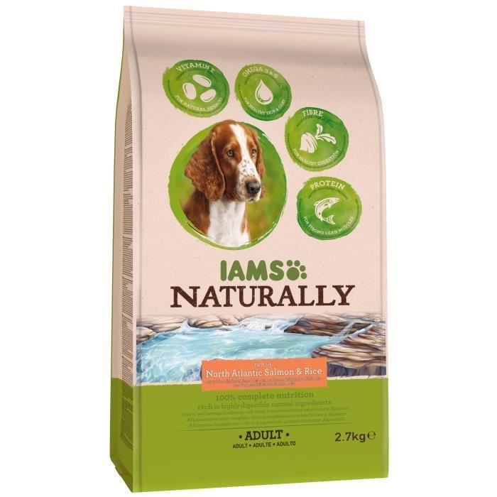 IAMS Naturally Croquettes Saumon Atlantique Nord & Riz - Toutes races - Pour chien adulte - 2 x 2,7 kg