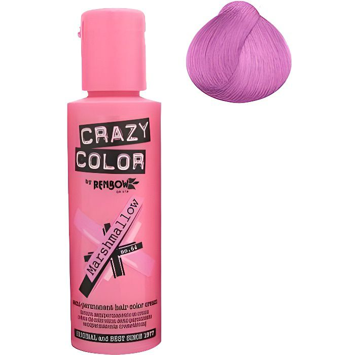 Coloration cheveux semi-permanente CRAZY COLORMARSHAMLLOW PINK = Rose bonbonPour un look FUN et des cheveux aux couleurs vives