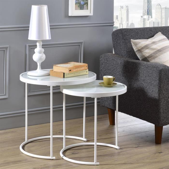 Lot de 2 tables d'appoint LEYRE tables basses gigognes, tables à café design industriel, plateau rond en verre et cadre métal, blanc