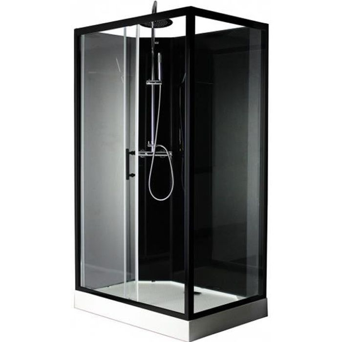 KRONE - Cabine de douche 110*80 cm - Noir- Rectangle - BLOSSOM