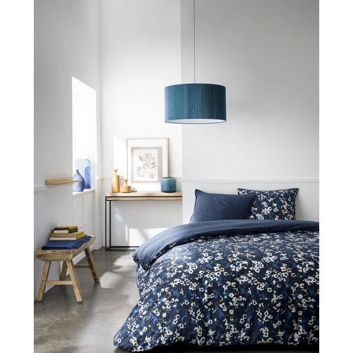 TODAY Parure de couette 220x240cm SUNSHINE coton + 1 Drap Housse 140x190cm coton + 1 Protège Matelas 140x190cm - Bleu floral TODAY