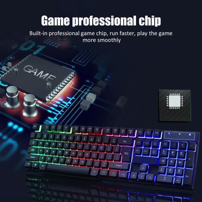 Ensemble clavier souris, adaptateur pour clavier mécanique PS4 Rainbow LED, noir