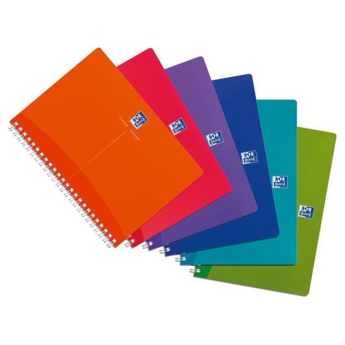 Cahier à spirales My Colours - Format A5 (90 g-m2) - 180 pages à petits carreaux - Couleurs assorties