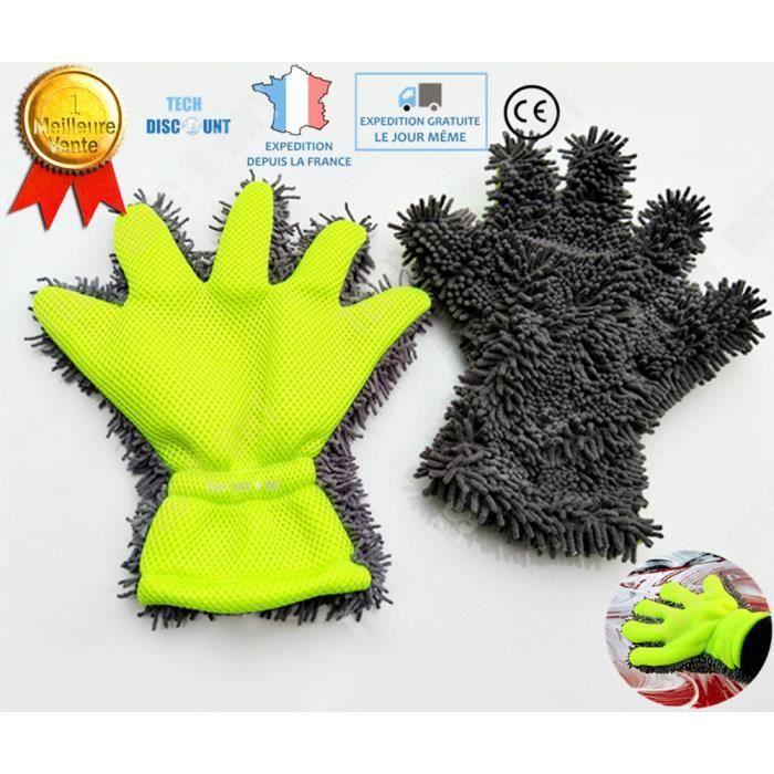 TD® Gant de lavage voiture microfibres auto lavage nettoyage chiffon véhicule nettoyage doux carrosserie moto polissage résistant